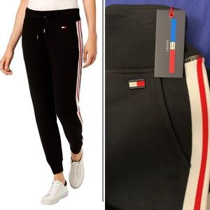 Tommy Hilfiger Womens Black Jogger Sweatpants Ath
